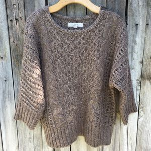 Loft Cable Knit Sweater Heather Brown XL